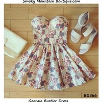 Georgia Bustier Dress with Adjustable Straps - Size XS/S/M BD 366 - Smoky Mountain Boutique
