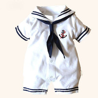 Newborn Boy Clothes Baby Romper Sailor Costume infant Babygrows 4-18M
