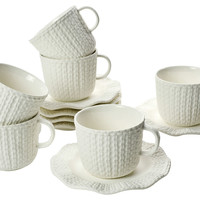 12-Pc Renne Tea Cups & Saucers Set, Tea Cups & Saucers