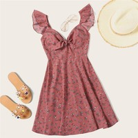 Boho Ditsy Floral Knot Neck Ruffle Trim Dress Women Sweetheart V Neck Sleeveless High Waist Sexy Dress