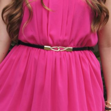 Skinny Belt with Gold Clasp, Black