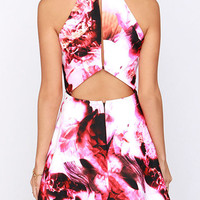 Smoking Hot Fluid Print Sleeveless Mini Skater Dress