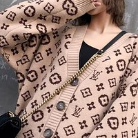 Hot Sale LV Louis Vuitton Trending Women Print V Collar Sweater Knit Cardigan Jacket Coat