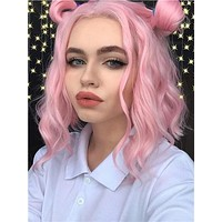 Pure Pink Wave Bob Synthetic Lace Front Wig