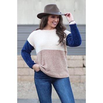 Vogue Color Block Chenille Sweater