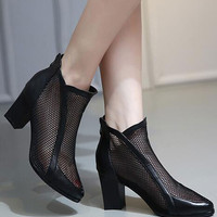 Black Mesh Insert Pointed Block Ankle Boots