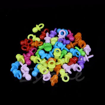 50Pcs Mini Pacifiers Baby Shower Favors Clear Girl Boy Party Game Decorations
