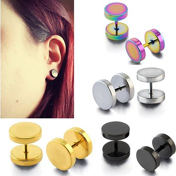 3~14mm Fake Piercing Tunnels Black Surgical Steel Fake Plug Cheater Ear Plugs Gauge Earring Body Jewelry Falso Plug Stretching