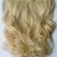 """Curly 3/4 Full Head Clip in Remy Hair Extensions One Piece 5 Clip Ins (Curly 20"""", Blonde)"""