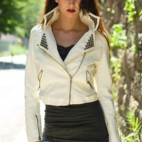 In a Zip Studded Faux Leather Moto Jacket - Cream from Ambiance Apparel at Lucky 21