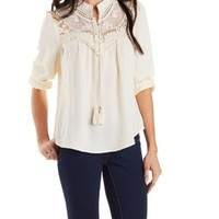 Ivory Crochet-Trim Peasant Top by Charlotte Russe