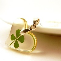 Four Leaf Clover Necklace Lucky St. Patrick's Day Real Shamrock Encased In an Acrylic Heart Good Luck Charm