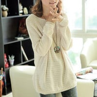 Beige Loose Bat Hollow Sweater