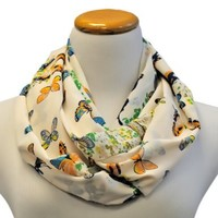 White Vibrant Butterfly Print Lightweight Infinity Circle Loop Scarf
