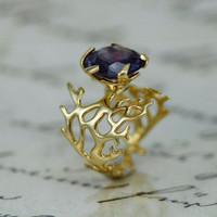 seaweed Ring,Statement Ring, Gold Alexandrite Ring, Gold Engagement Ring, Alexandrite Ring,Gold,Alexandrite promise Ring,unique Ring