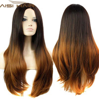 2016 Available Ombre Celebrity Curly Wig Cheap Wigs Two-Tone Female Elegant Wavy Synthetic Wigs for African American Black Women