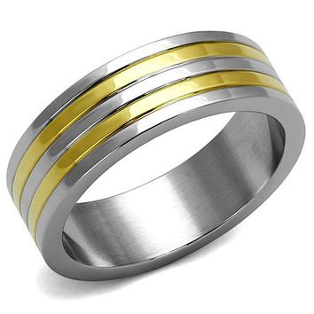 SALE  Men's 14K Gold & Stainless Steel Wedding Bands Ring