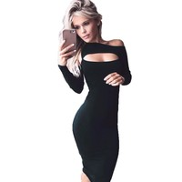 New 2016 Women Dress Long Sleeve Hollow Out Party Dresses Sexy Bandage Bodycon Black Dress Autumn Dress Vestidos Femininos