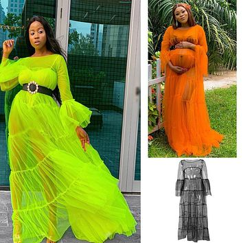 Long-sleeved net yarn perspective stitching large  size women's explosive dress flourescent  green