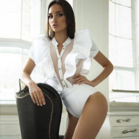 Fashion sexy show thin Flying gauze sleeve splicing clasp romper White