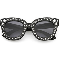 Women's Trendy Star Rhinestone Horned Rim Sunglasses C579