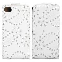 White Flip Leather Flower Bling Case Cover Pouch for iPhone 4 4S 4G