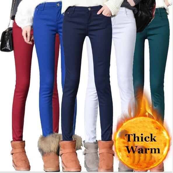 Image of Thick Pencil Pants For Women Winter Warm Skinny Trousers With Velvet Inside Solid Slim Woman Pants