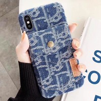 Dior New fashion more letter canvas couple protective cover phone case Blue