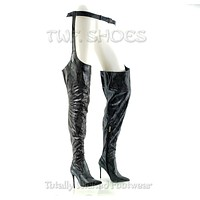 """CR Black Boa Snake Chaps Belted Thigh Boots Pointy Toe 4"""" High Heel 6-11"""