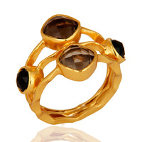 14-Carat Yellow Gold Plated Smoky Quartz And Black Onyx Handmade Ring For Women