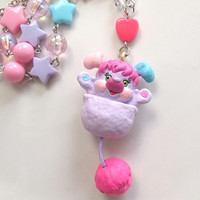 Vintage Style 80s Lovely Popples In Pouch Pretty Bit Swarovski Crystals Bright Colours Japan Harajuku Style Long Necklace
