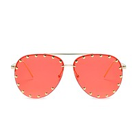 The Riveted Aviator Sunglasses Red