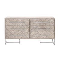 Mosaic Double Dresser Natural Gray, Brushed Stainless Steel