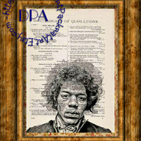 Rock n' Roll Singer Jimi Hendrix Drawing Art - Vintage Dictionary Page Art Print Upcycled Page Print, 1950's Music