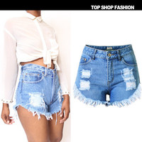 [ On Sale ] Tassel Ripped High Waisted Jeans Shorts _ 1077