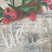 """Silver Galvanized """"Blessed"""" Metal Script Sign"""