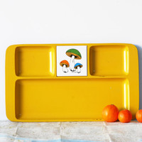 Mod Yellow Tray with Mushroom Tile by Michel - Large Divided Serving Tray