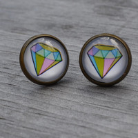 Graphic Diamond Earrings, Pastel Green and Pink, Antiqued Brass, Geometric Glass Earrings, Stud Earrings, Post Earrings