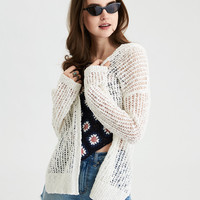 AE Crochet Mesh Cardigan, Cream