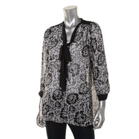 Jules & Jim Maternity Womens Sheer Printed Button-Down Top