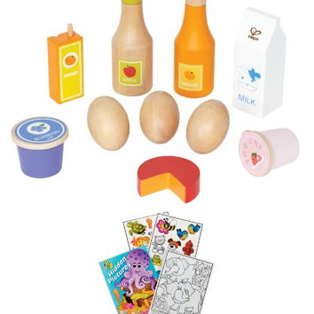 Hape E3108 Healthy Basics Wooden Play Food Set with Kids Coloring Activity Book