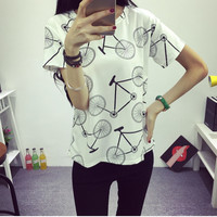 2016 Women's T-shirt Summer Fashion Bicycles Printed T-shirt Round Neck Short-sleeved Bottoming Free Shipping