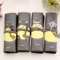 J51 Creative Novelty My Neighbor Totoro Rolling Simple Vintage Bandage Pen Case Pencil Box Bag Cosmetic Makeup Storage