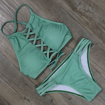 Green Beachwear Bikinis Set Padded Bra Bathing Suit
