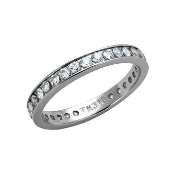 Stackable Shine - Stackable Clear CZ Stainless Steel Eternity Band