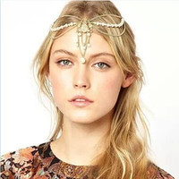 fashion  tassel pearls crown shaped headband bohemian Hair chain Hair Accessories(GoldA100000044) (Color: Golden) = 1928441028