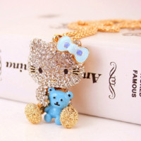 Large Beautiful Crystal Rhinestone Kitty With Bear Pendant & Chain Necklace