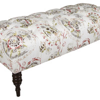 Stanton Tufted Bench, White/Red, Entryway Bench, Bedroom Bench