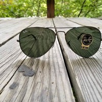 Ray Ban Gunmetal Aviator Sunglasses - Gunmetal/Green Lenses RB3025 C04/51 G15