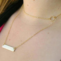 Layering Necklace Set - Delicate Gold Layer Necklaces - Layered Necklace -  Circle Necklace - Bar Necklace - Custom Necklace - Gold Jewelry